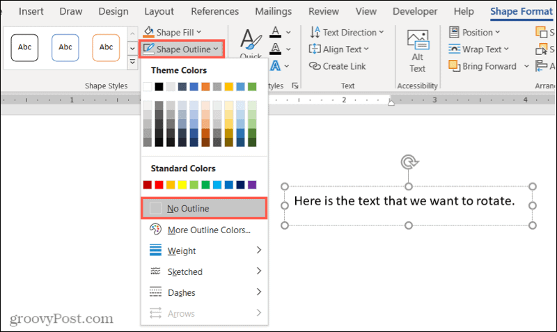 Remove the outline of a text box in Word