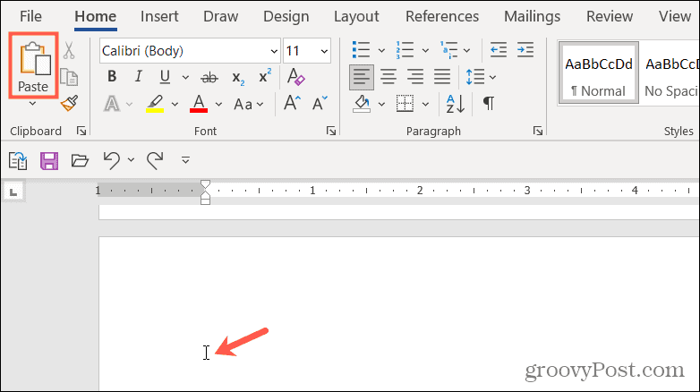 Paste content to duplicate a page in Word