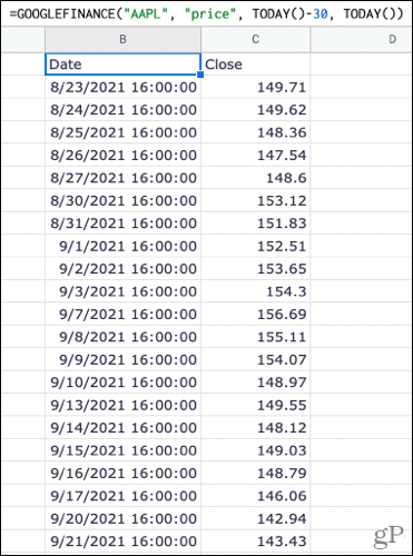 Formula with previous 30 day prices