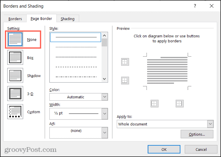 Remove a page border in Word