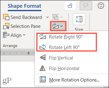 Rotate the text box in Word on Windows