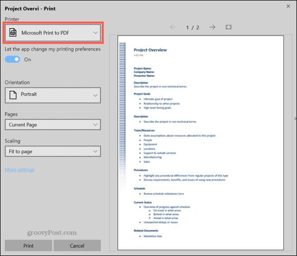 Save as PDF OneNote Windows 10
