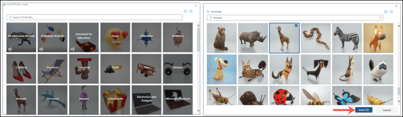 Search and browse 3D models in Microsoft Office