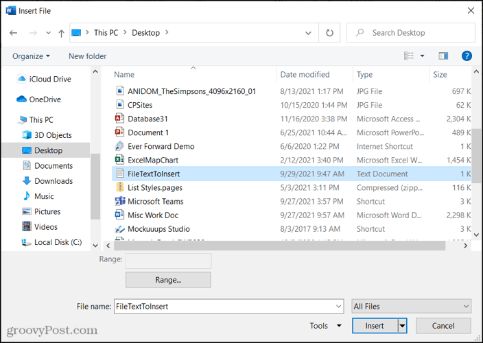 Select the file to embed the text