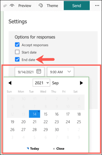 Set up an end date in Microsoft Forms
