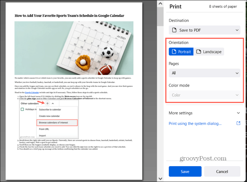 Save to PDF in Firefox settings