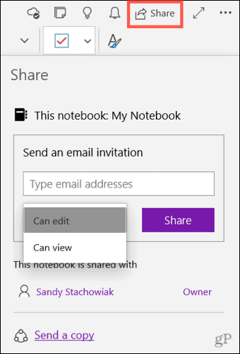 Share a notebook in OneNote for Windows 10