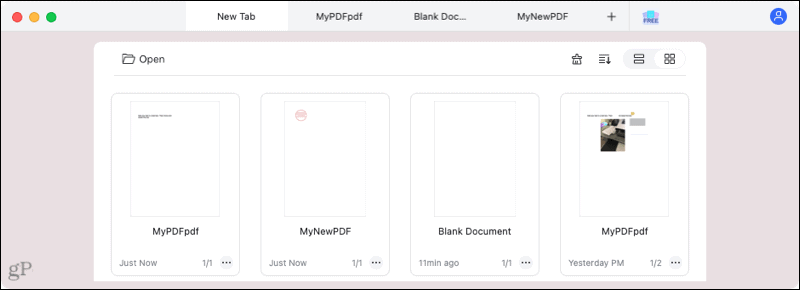 PDFelement for Mac tabs