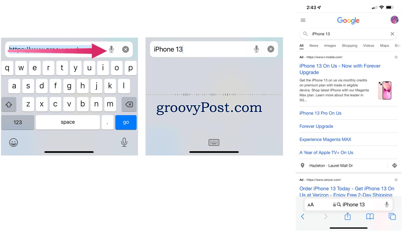 Safari voice search