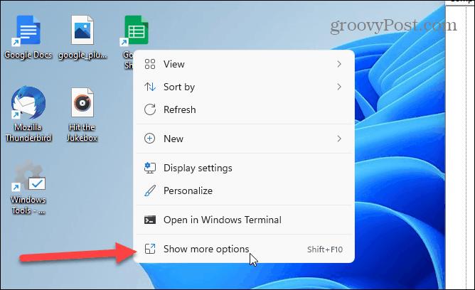 more Options Windows 11 context menu