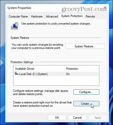 Create system restore point windows 11
