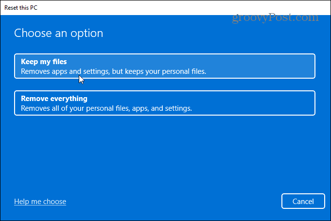 reset this pc cloud or local windows 11