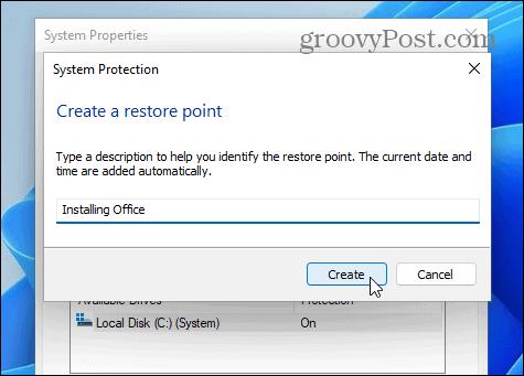 name restore point windows 11