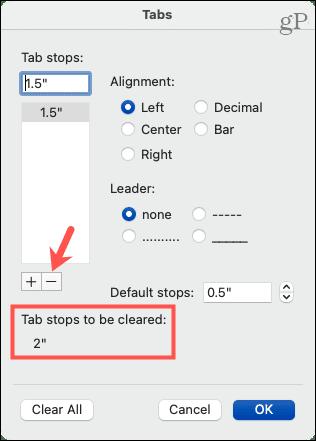 Clear a single tab stop on Mac