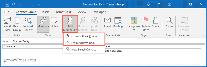 Add members to a new contact group in Outlook