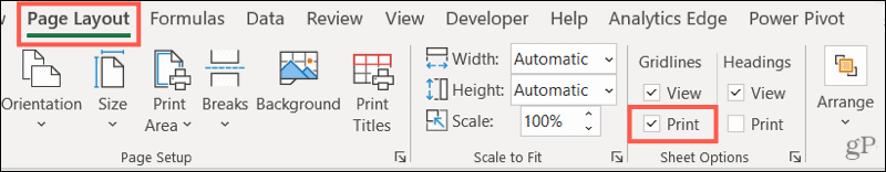 Check Print under Gridlines on the Page Layout tab