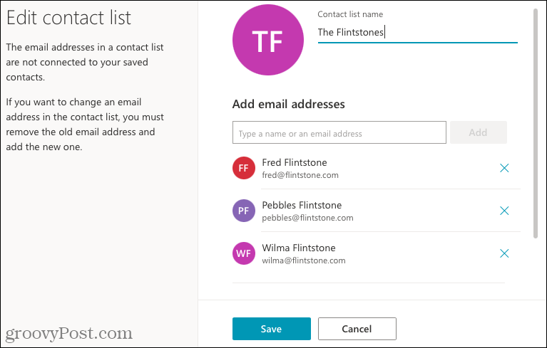 Edit a contact list in Outlook