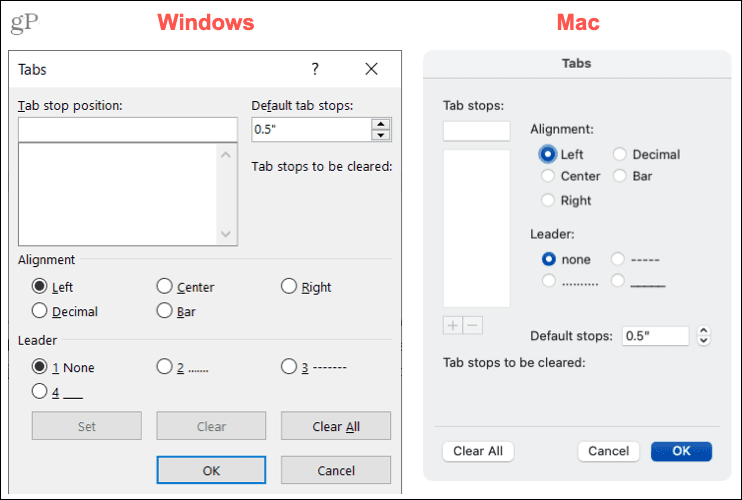Settings for Tabs in Word on Windows and Mac