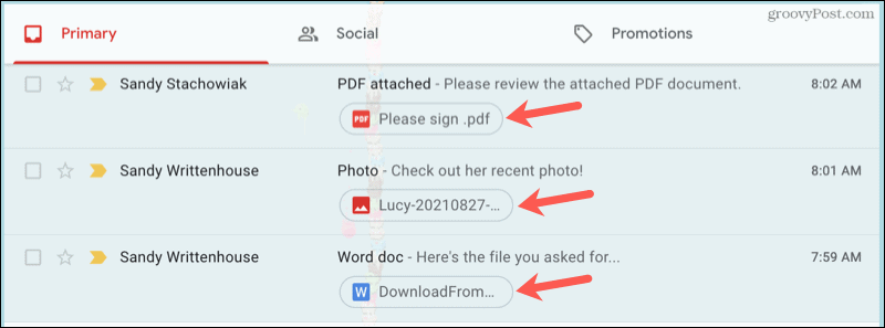 View attachments in Gmail inbox