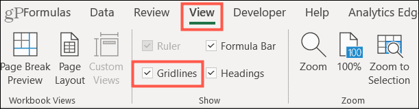 Check Gridlines on the View tab