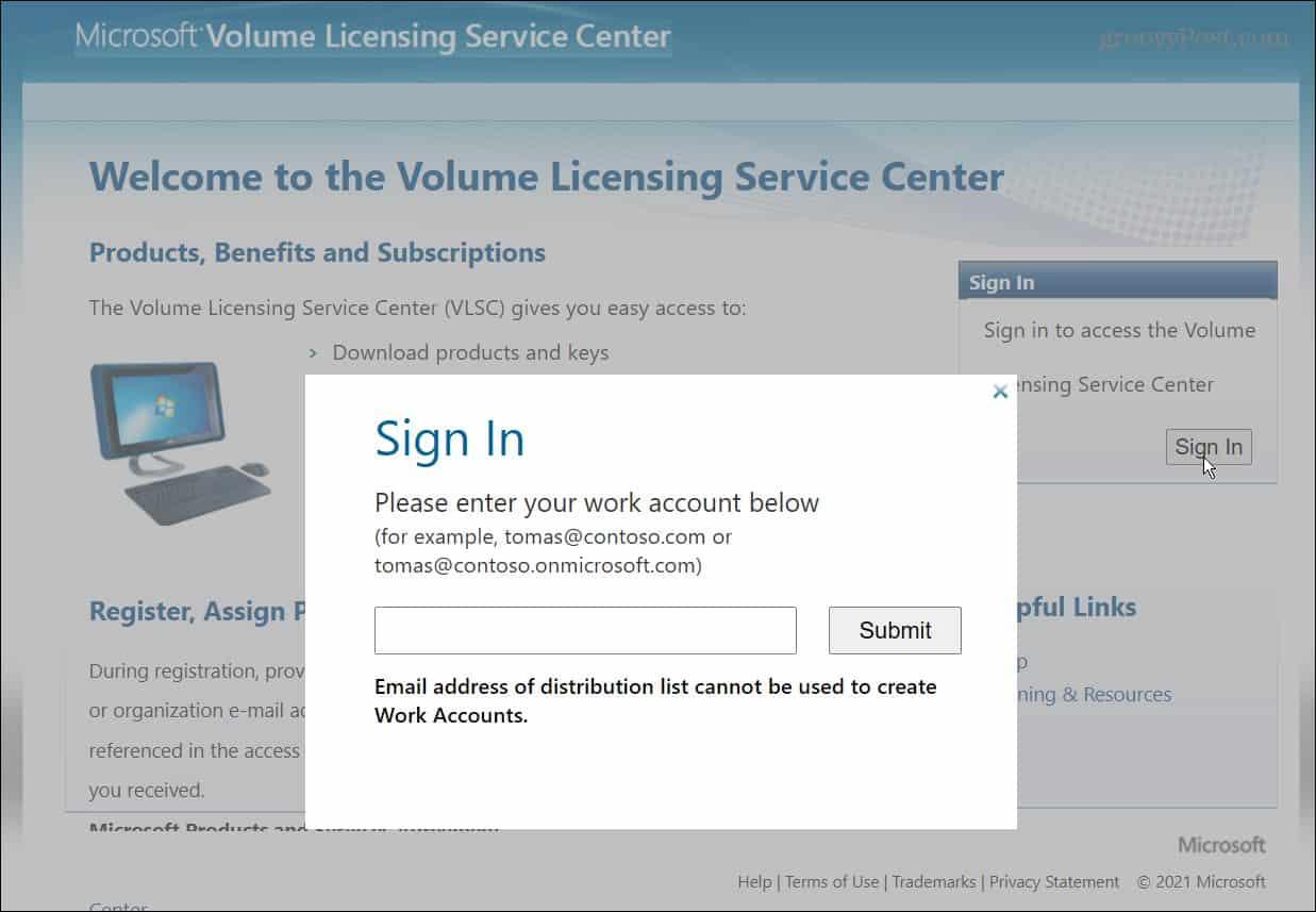 Microsoft volume license service center